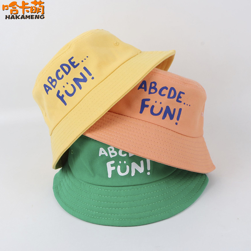 Spring and summer new small fresh letters childrens fisherman hat mens and womens baby basin hat travel sunscreen hat