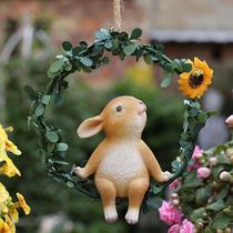 庭院花园装饰户外铁圈小兔子挂饰 创意树脂仿真卡通动物雕塑摆件