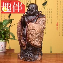 黑檀实木雕刻弥勒佛根雕摆件大号恭喜笑佛像工艺品红木家居送礼品