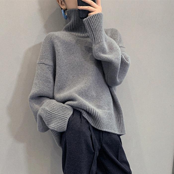 6339#明星王菲同款純羊毛衫加厚慵懶風寬松高領羊絨針織廓形毛衣