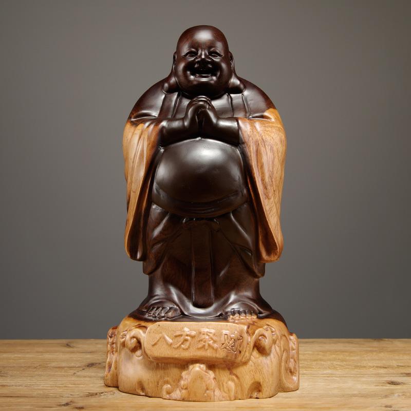 黑檀木雕弥勒佛像摆件实木笑佛家居客厅装饰桌面摆设红木工艺礼品