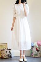 夏季小清新少女白色蕾丝学生小白裙过膝裙子仙女文艺中长款连衣裙