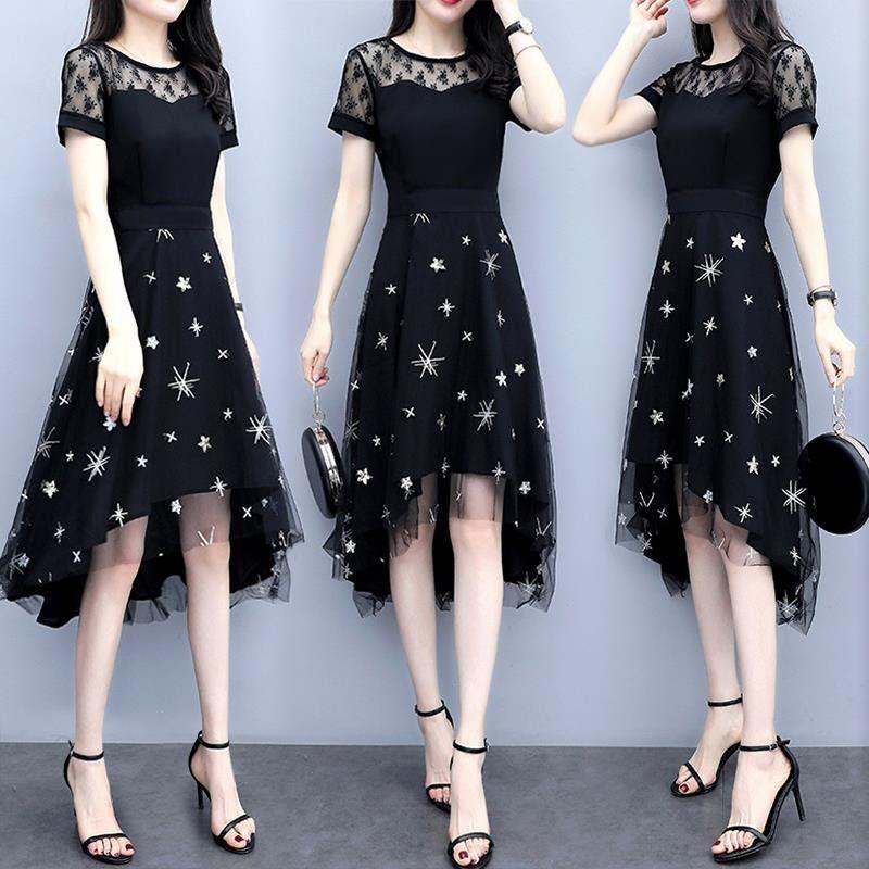 爆款连衣裙夏装新款合适胖女人洋气大码遮肚减龄显瘦蕾丝中长裙子图片