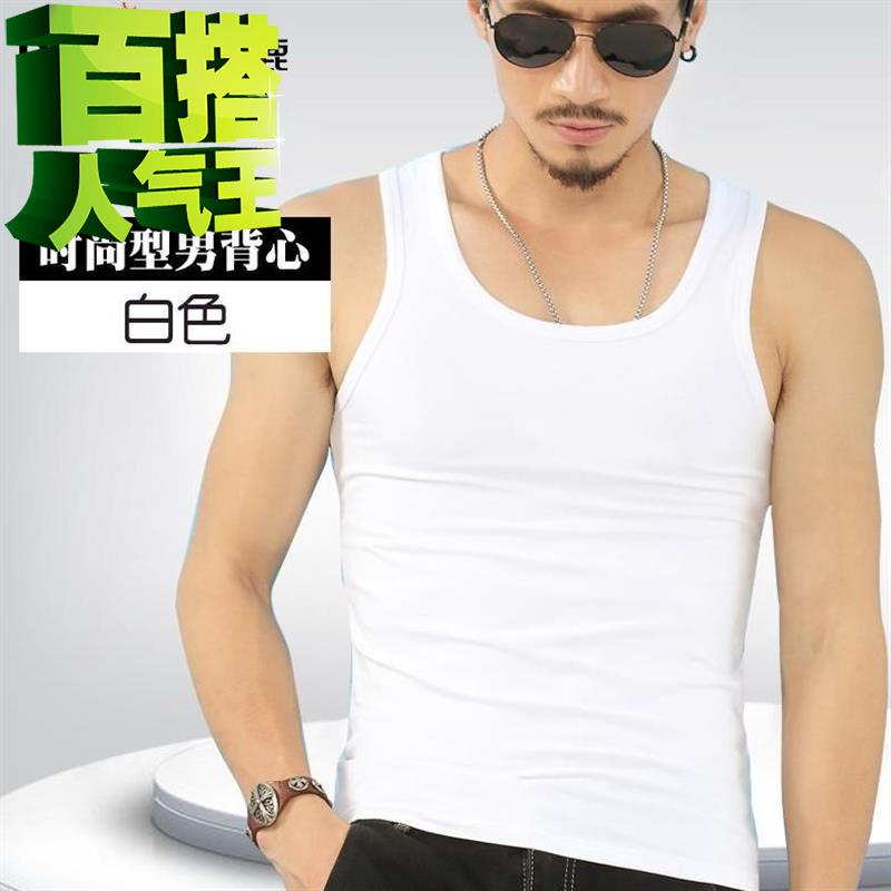 Mens Vest summer w tide wear fitness technology mens middle-aged playing loose suit large size, half sleeve short