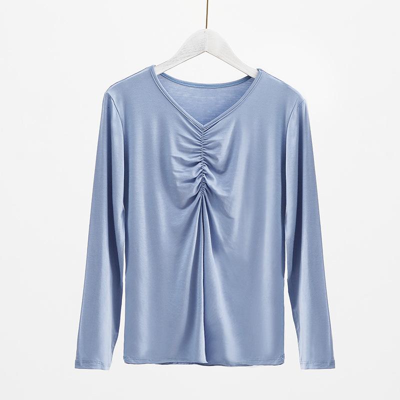 韩版女装抽褶v领T恤长袖莫代尔纯色大码打底衫内搭上衣女2020秋季
