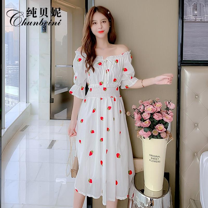 夏季雪纺小个子连衣裙显白气质女神范草莓仙女裙白色法式收腰显瘦