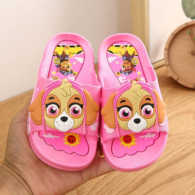 Wang Wang team boys slippers summer Archie fur gray cute cartoon girl beads every day childrens cool slippers