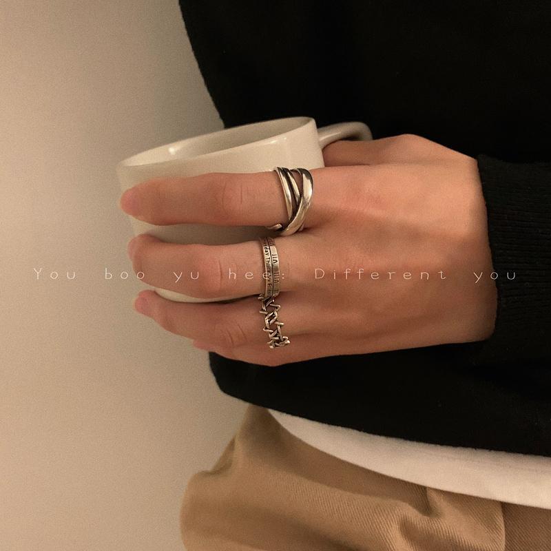 复古简约做旧套装戒指女嘻哈ins男潮时尚个性小众设计开口食指环