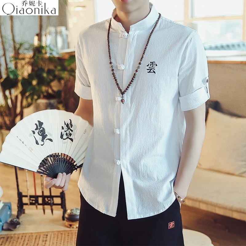 Linen cotton embroidery ancient style T-shirt and summer Chinese elements Buddhism in mens clothing of ethnic minorities