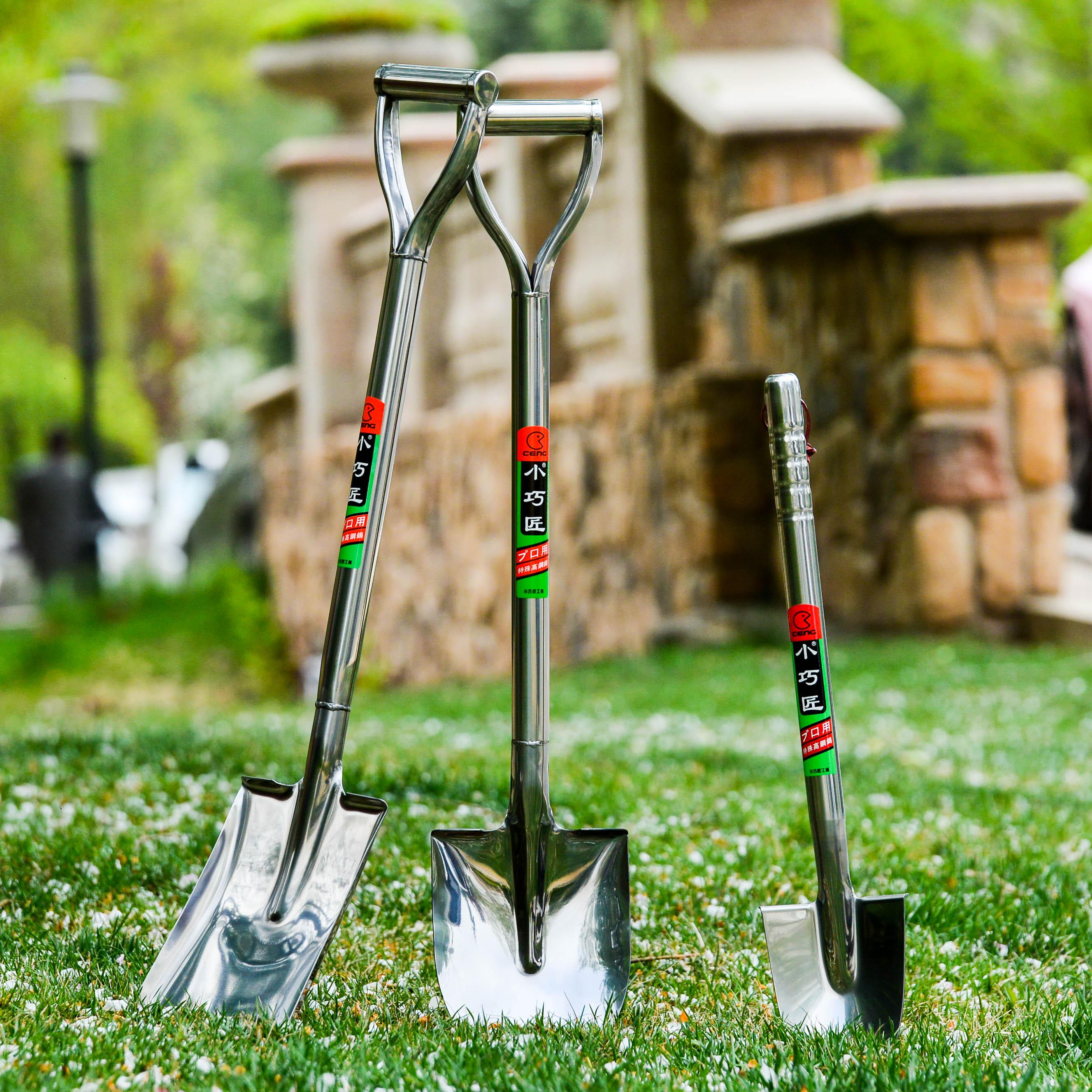 精品不锈钢铁锹不锈钢铲子园艺小铲子铁铲车载铲头家庭用具