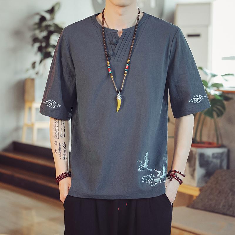 中国风短袖t恤大码短袖T恤男仙鹤刺绣t恤宽松大码亚麻t恤男百搭t