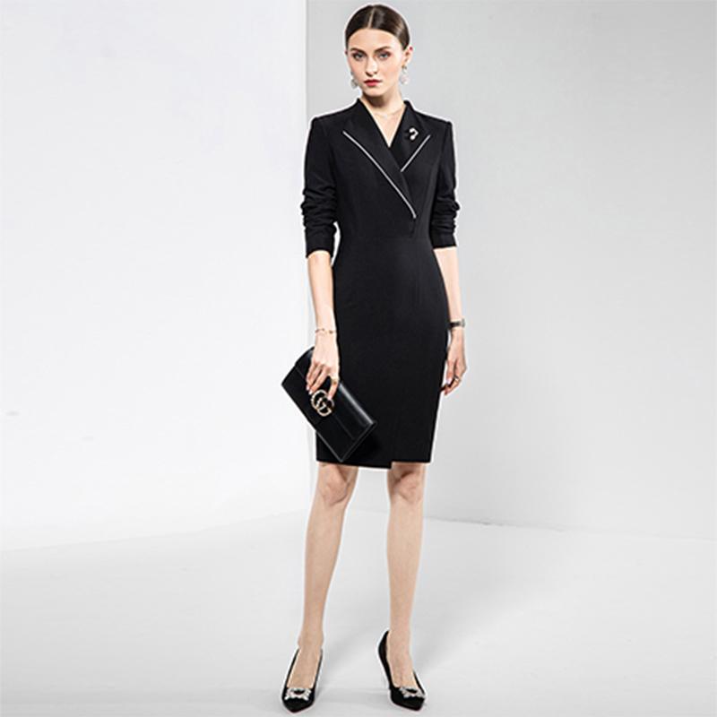 高端黑色连衣裙女2020秋季新款职业套装气质修身OL风商务正装西装