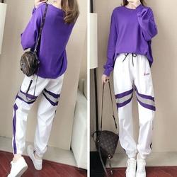 日系运动套装女2020新款秋季紫色卫衣韩版时尚休闲ins潮牌两件套