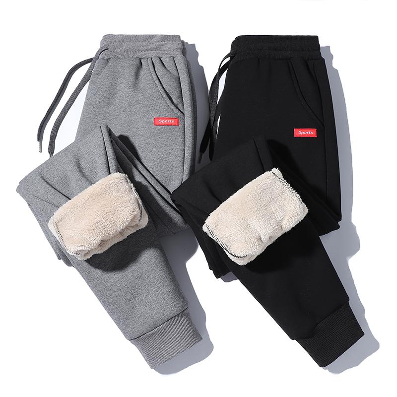 纯小美羊羔绒保暖加绒休闲裤情侣加厚冬季新款九分裤运动带绒卫裤