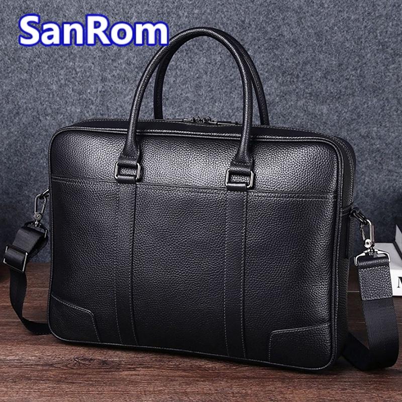 Mens leisure one shoulder messenger bag leather handbag business briefcase head leather large capacity simple computer