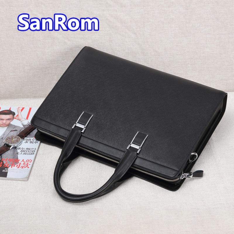 Mens briefcase business bag leather leather handbag One Shoulder Messenger Bag fashion simple casual matte bag