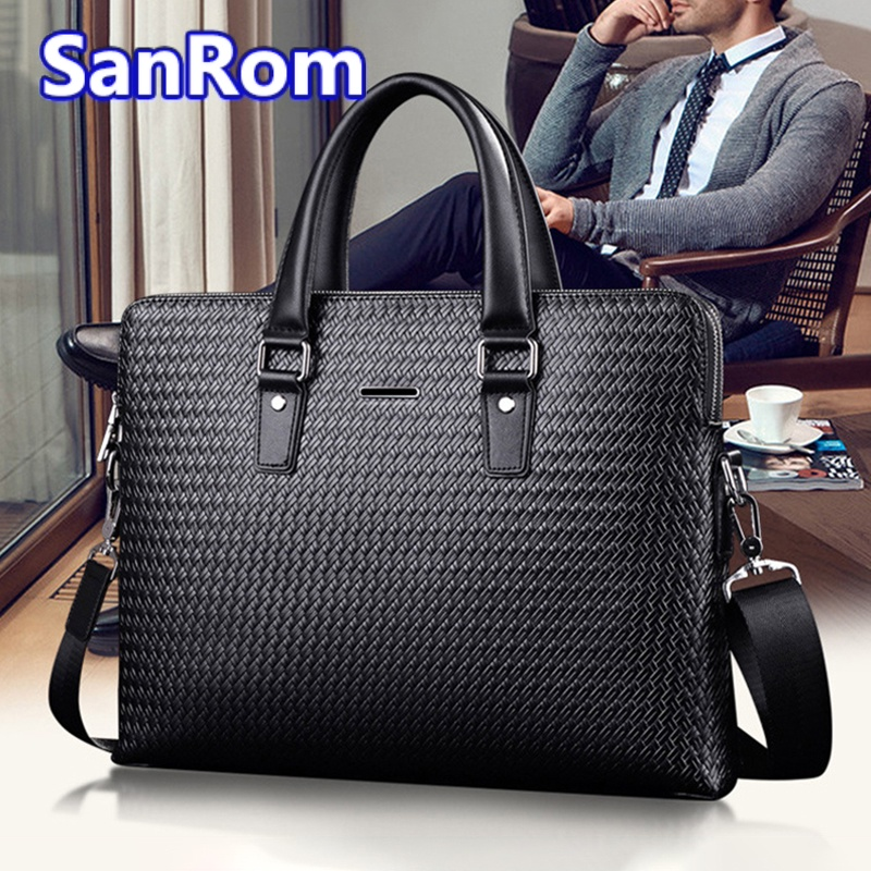 Mens leather handbag large capacity business briefcase casual cowhide Single Shoulder Messenger Bag simple woven bag fashion