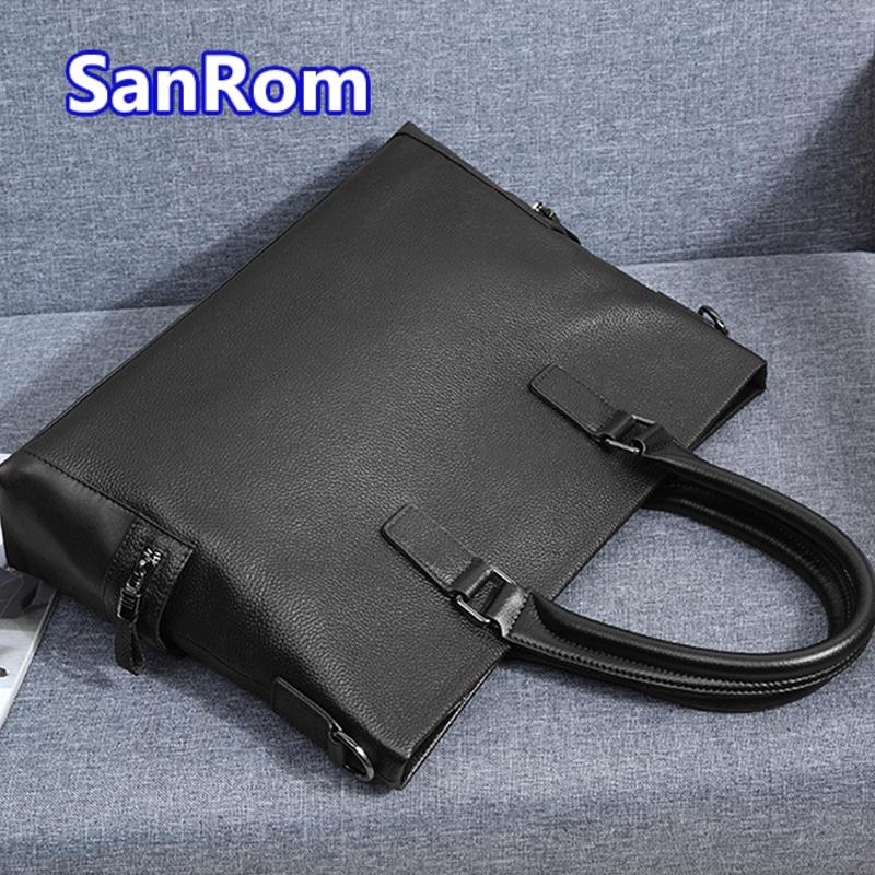 Mens handbag leather large capacity bag business simple first layer leather one shoulder messenger bag leisure briefcase