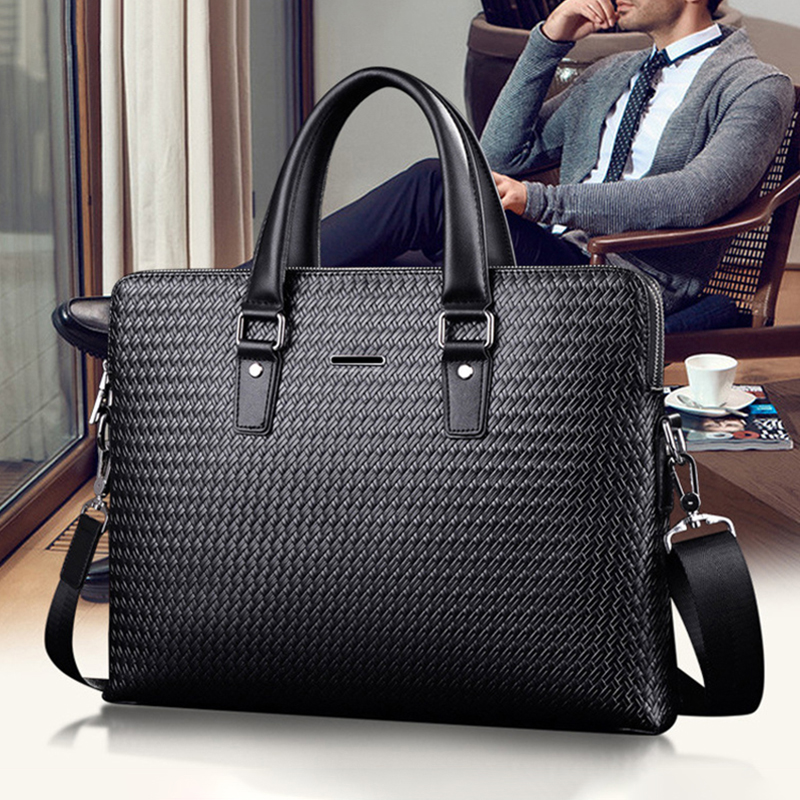 Mens leather handbag large capacity business briefcase casual cowhide One Shoulder Messenger Bag simple woven bag fashion