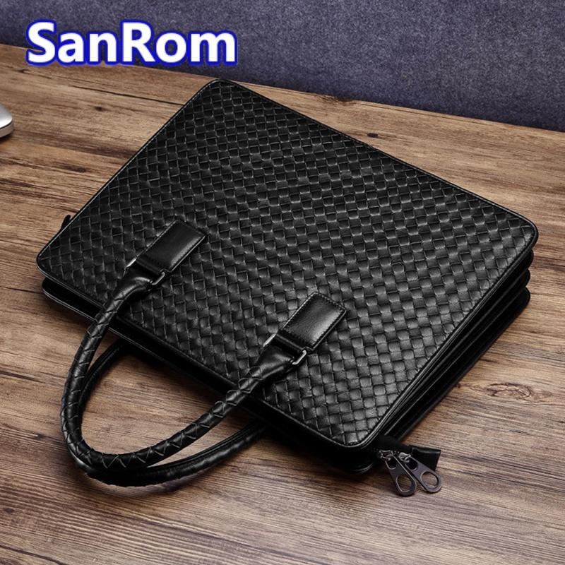Mens briefcase leather horizontal bag cowhide Business Single Shoulder Messenger Bag leisure woven handbag double zipper