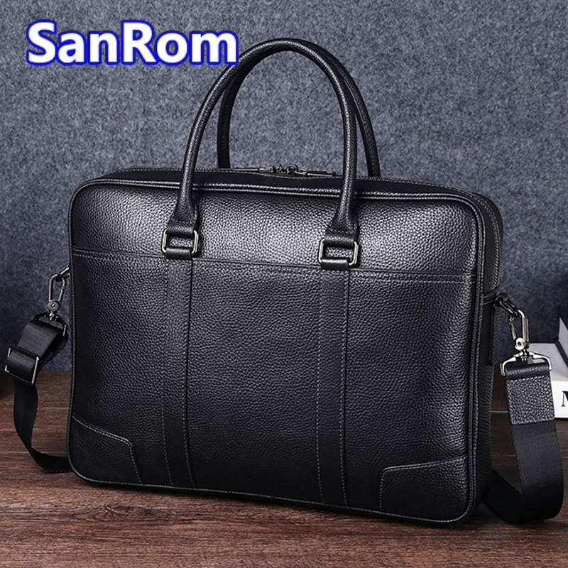 Mens leisure one shoulder messenger bag leather handbag business briefcase top leather leather large capacity simple computer