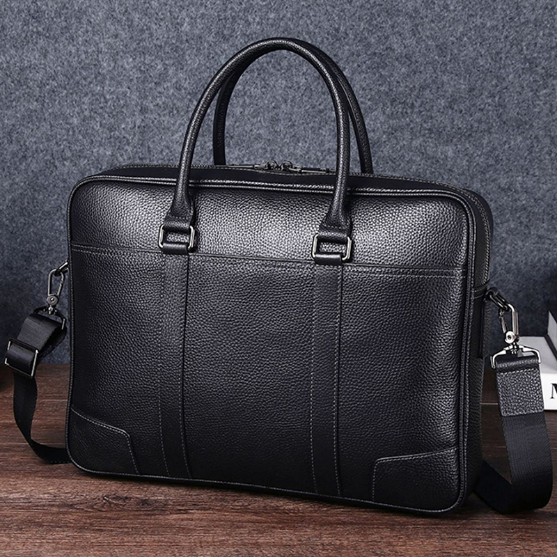 Mens leisure one shoulder messenger bag leather handbag business briefcase head leather large capacity simple computer