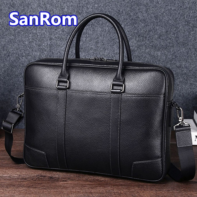Mens casual one shoulder messenger bag leather handbag business briefcase top layer cow leather large capacity simple computer