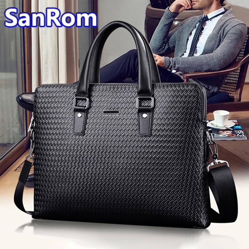 Mens leather handbag large capacity business briefcase casual leather one shoulder messenger bag simple woven bag trend