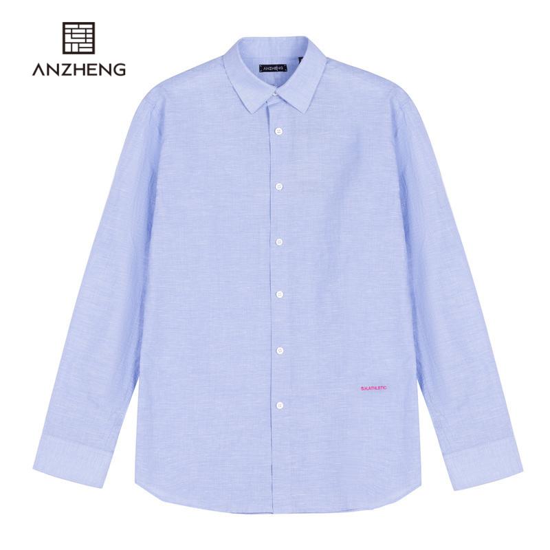Anzheng / anzheng mens flagship store 2020 summer new pure color cotton long sleeve fashion mens shirt