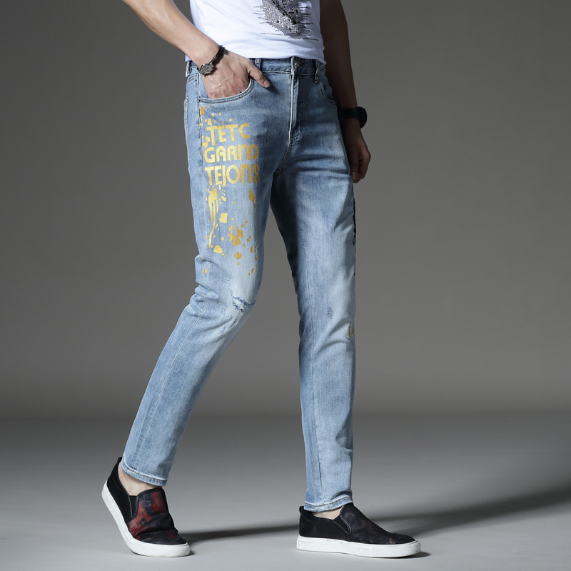 Mens trendy jeans spring and summer slim 2020 trend stretch fit versatile wear hole embroidered mens pants print