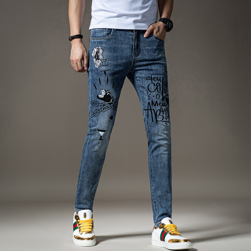 Mens embroidered perforated denim pants light color tide brand print slim feet retro beggars trend spring and summer 2020