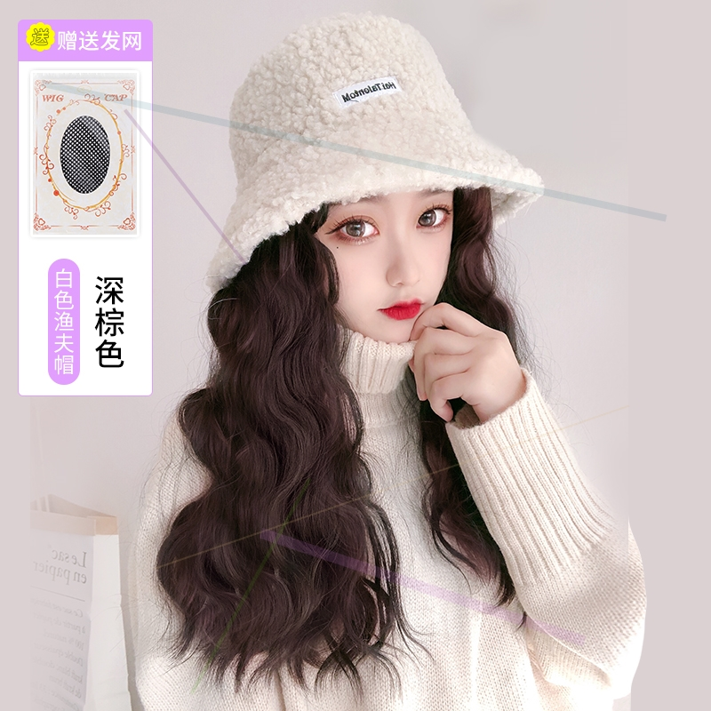 Winter new cashmere fisherman hat wig one female hat with hair fashion natural simulation net red