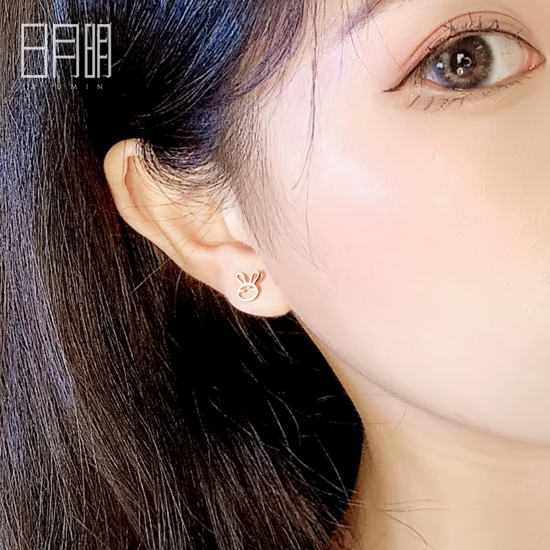 Riumin rabbit childrens pure silver 925 Earrings simple and small girl Gold Earrings New Zodiac