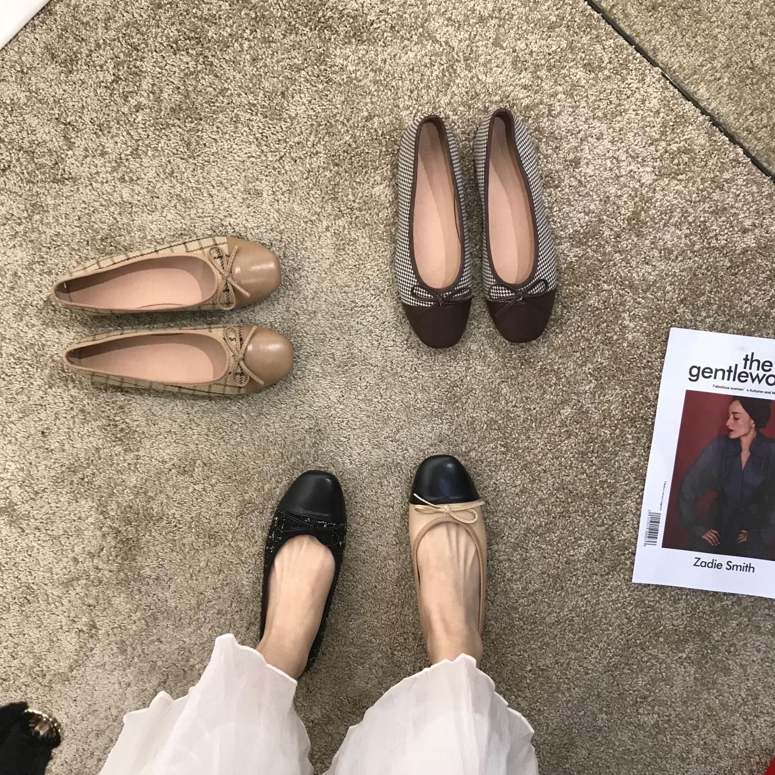 Bow flat bottom Doudou single shoes womens shoes