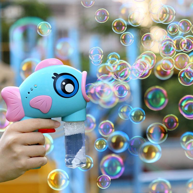 网红同款儿童吹泡泡机手动不漏水大嘴鱼泡泡水补充液吐泡泡枪玩具