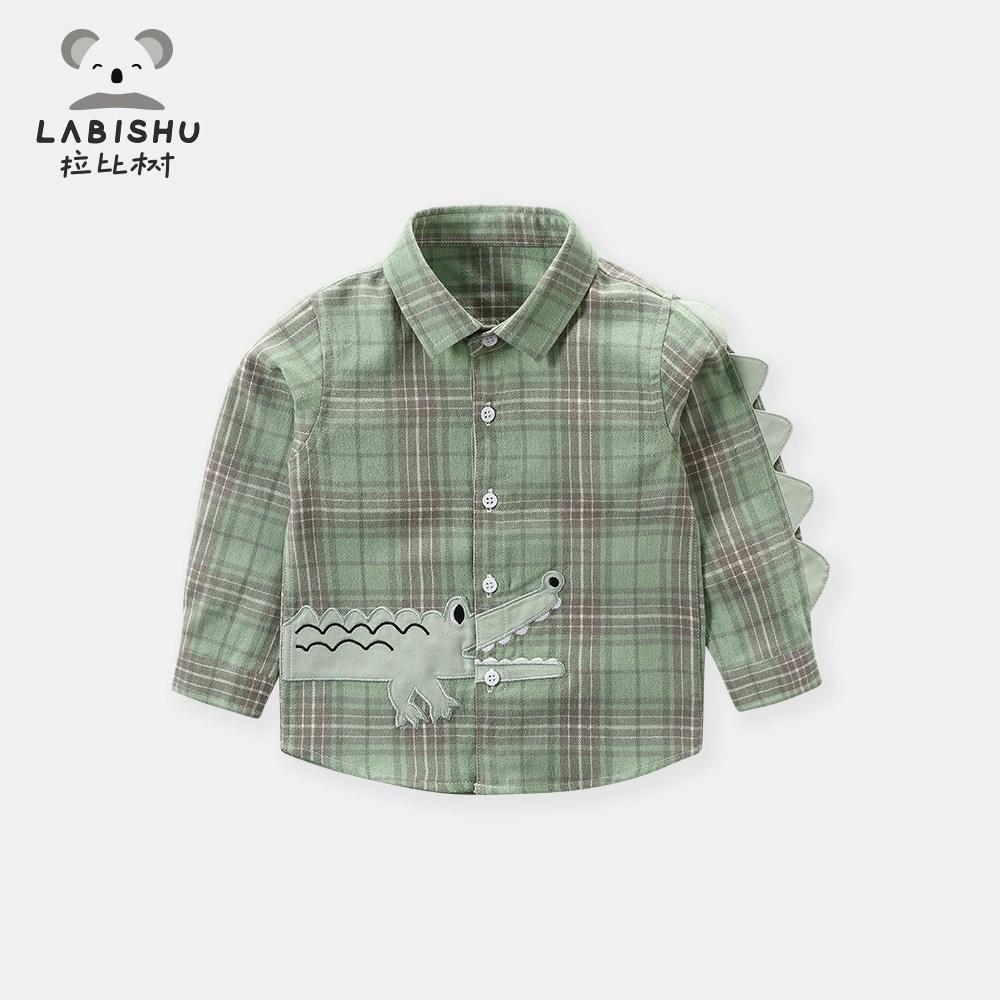 x拉比树童装新款儿童长袖衬衣男童秋装纯棉上衣婴儿宝宝格子衬衫