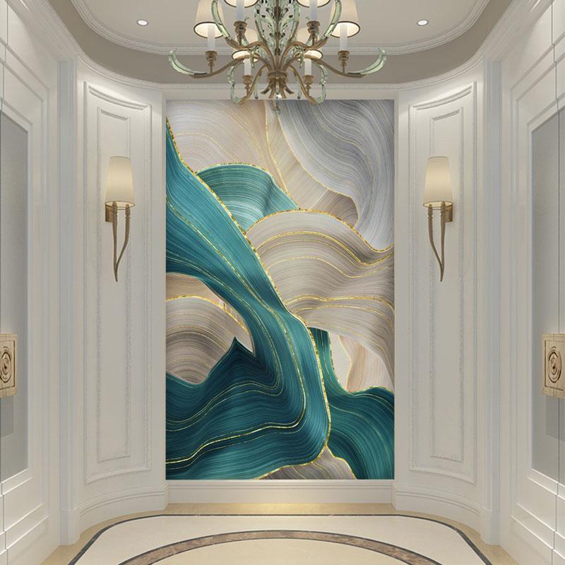 北欧简约现代玄关过道背景墙壁纸抽象走廊装饰画油画艺术竖版墙布