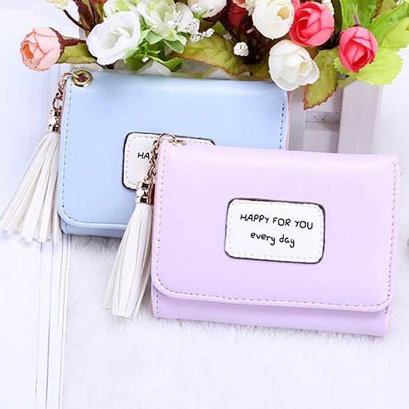 New 2020 womens short wallet, Japanese and Korean wallet, tassel 30% discount, lovely student wallet, small fresh card bag