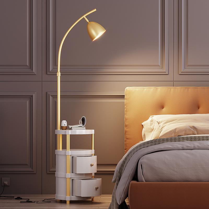 风卧室床头柜轻奢双层抽屉茶几落地灯ins北欧客厅沙发边立式台灯