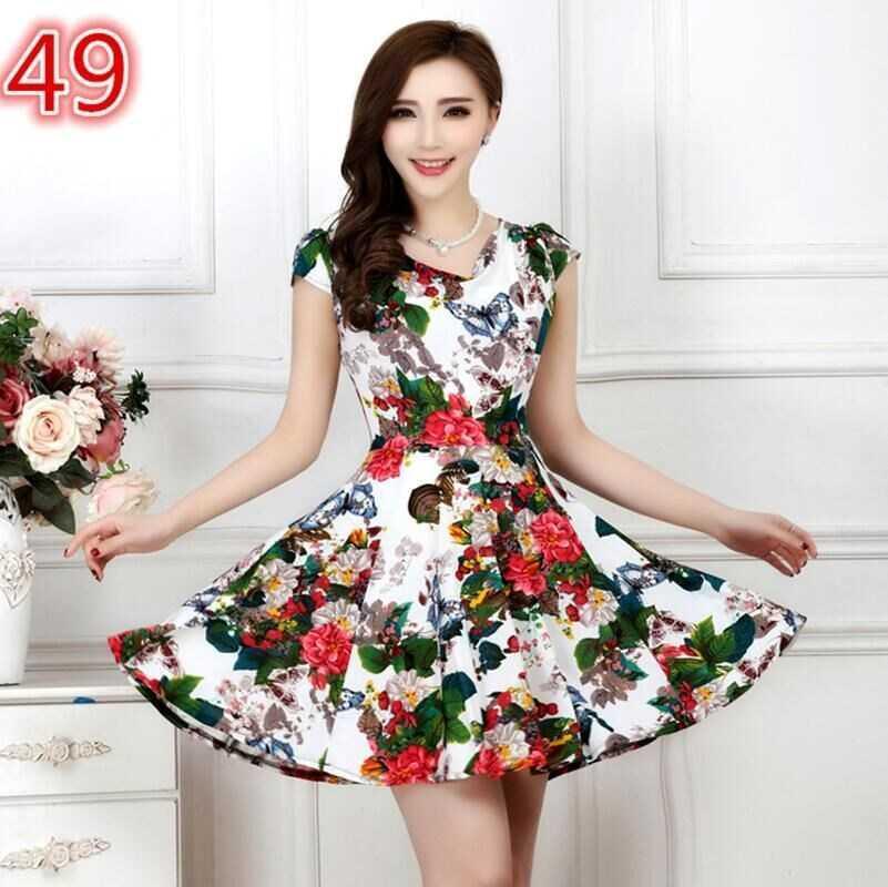 Dress mothers new long skirt summer slim milk big middle long womens V ice silk collar 2018 sweet