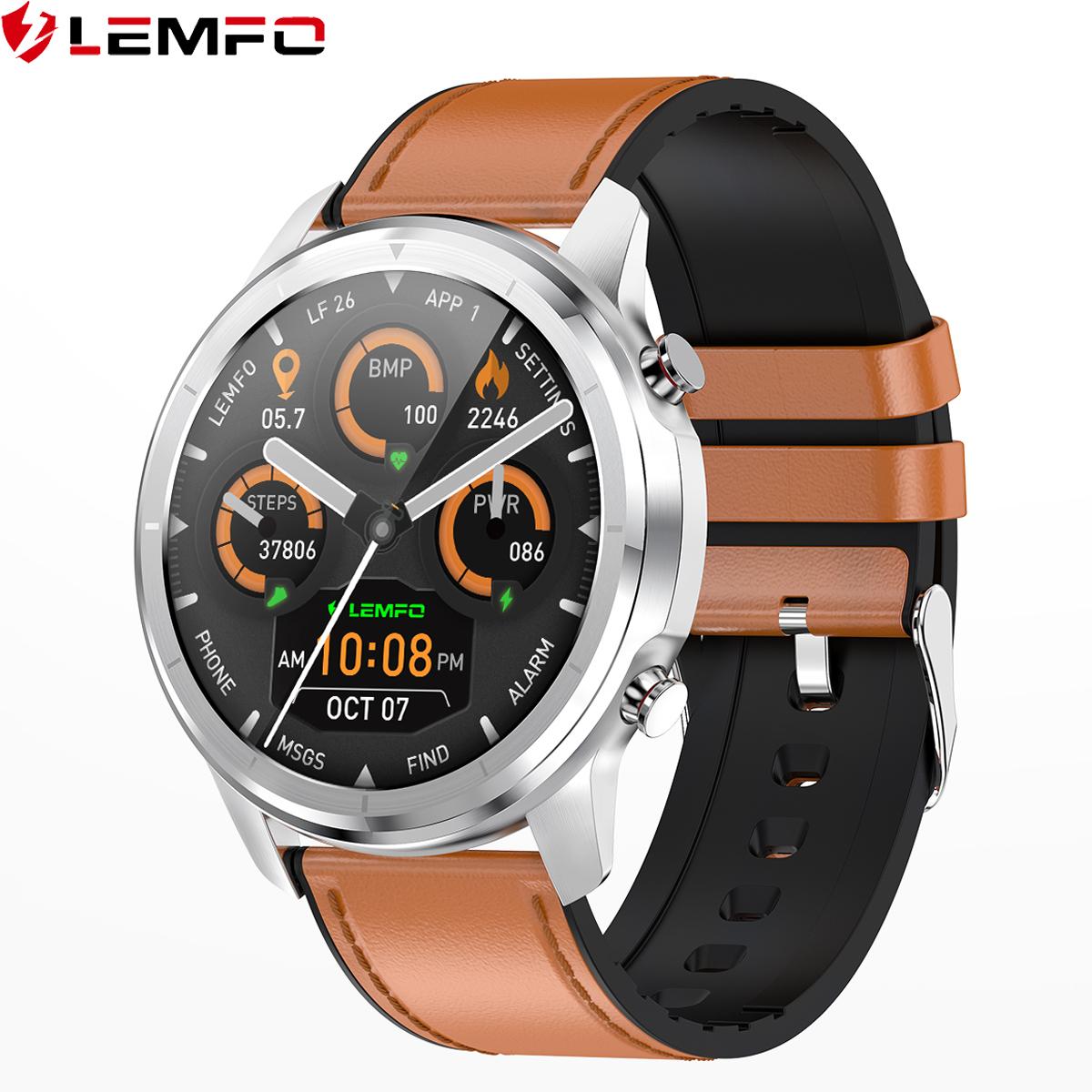 lemfo全屏触摸华为通用多运动模式健康智能手表男360PPI高分屏24小时连续心率血压血氧监测商务智能手环手表