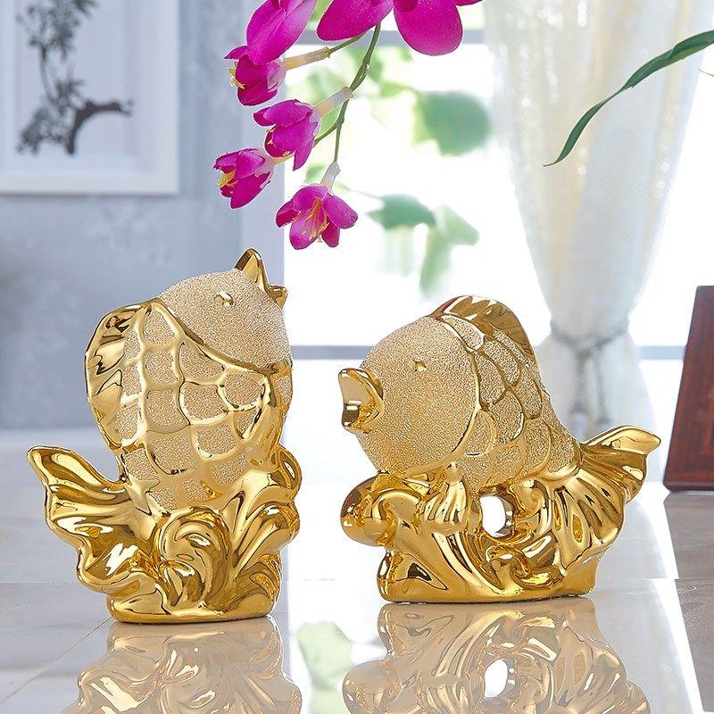 家居饰品客厅装饰摆件欧式电视柜电镀陶瓷小工艺品结婚礼物招财鱼