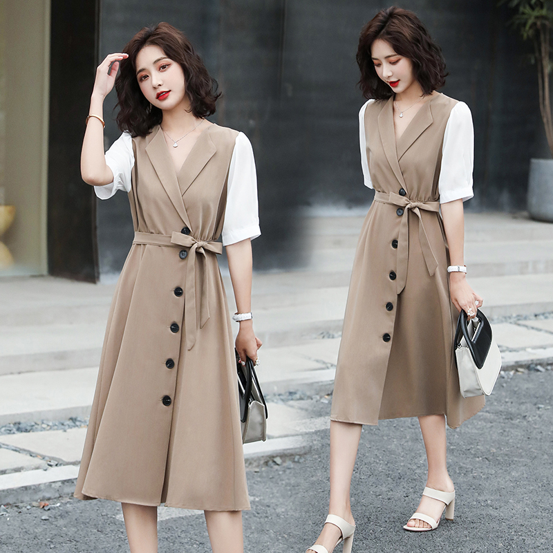 Suit dress womens knee over 2020 summer new style single breasted waist slim fake two piece mid length skirt