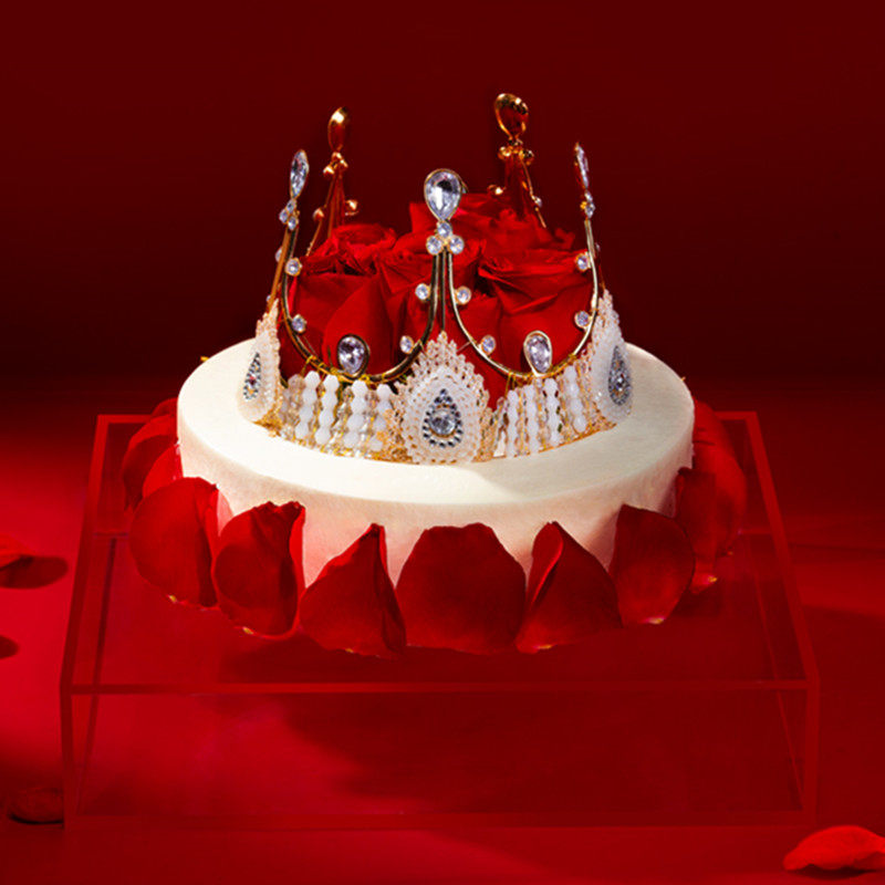 熊猫不走玫瑰女王520情人节日纪念奶油生日蛋糕北京广州同城配送