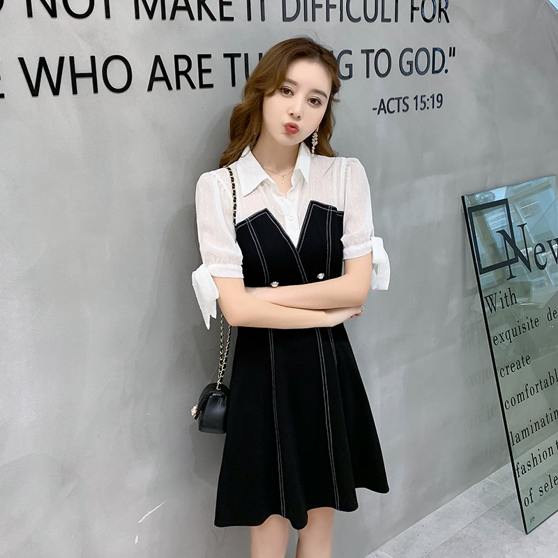 Waisted A-line dress goddess fan hot launch in summer 2020 Xiaoqing new fake two thin black dresses