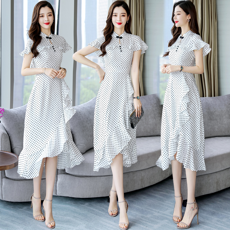 Young cheongsam modified dress womens hot summer 2020 Korean Cape Polka Dot Chiffon Dress