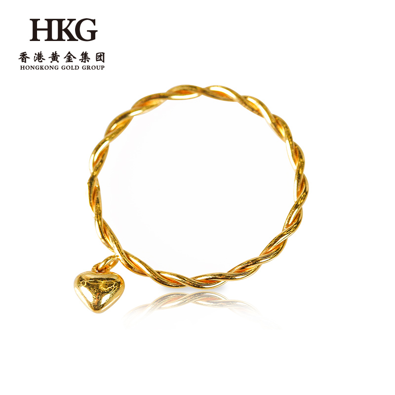 HKG genuine gold net red ring 3D hard gold frosted ring womens bracelet 999 full gold twist fashion and simplicity