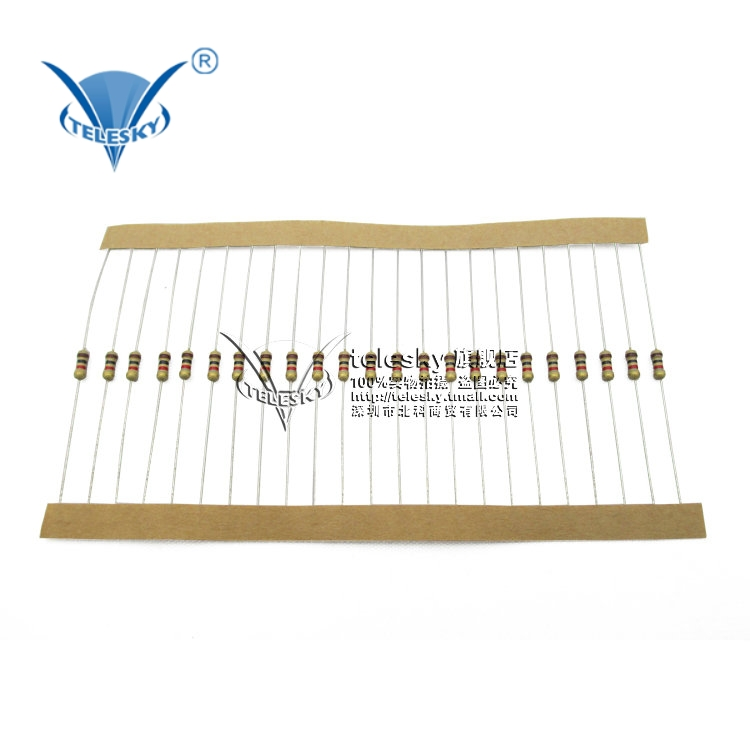【TELESKY】Carbon film resistors 1 / 4W 2.2K 5% colored ring resistors (100)