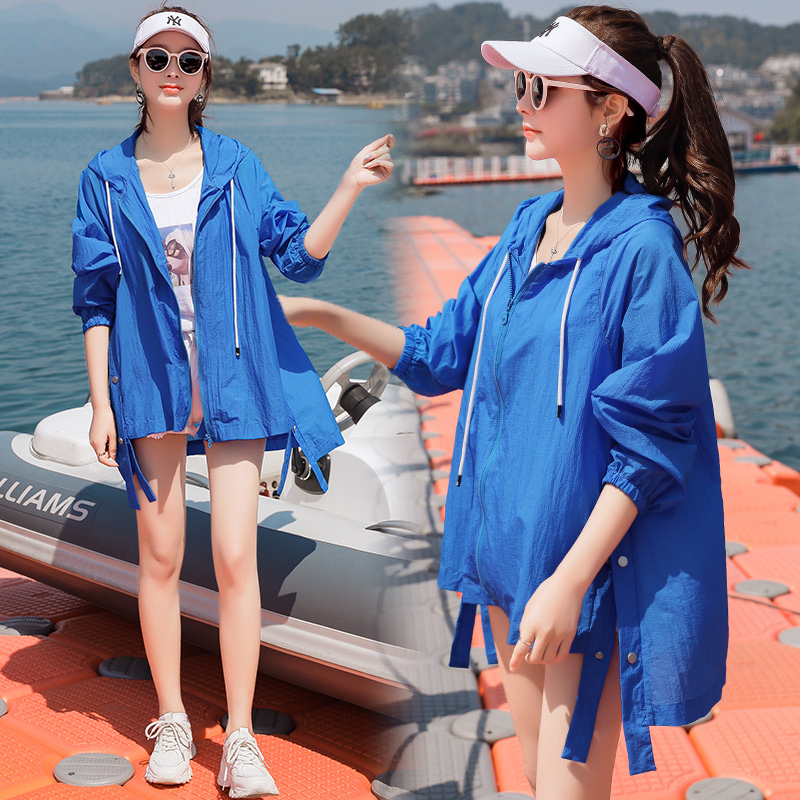 Summer 2020 new fairy sunscreen clothing womens Korean version of long front short back long sunscreen clothing thin sunscreen jacket