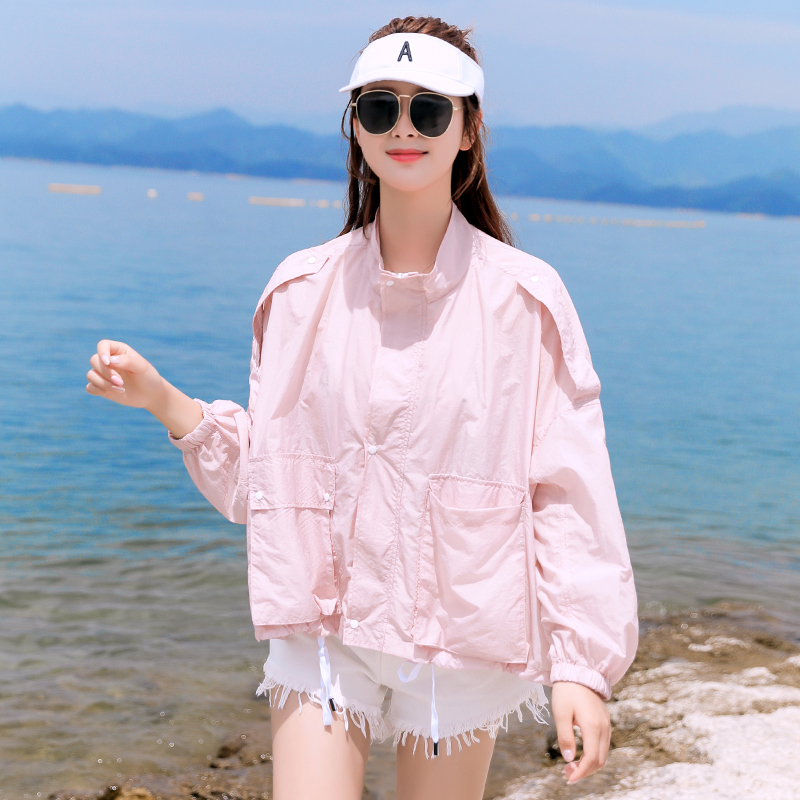 Sun proof clothes women short 2020 new summer long sleeve thin sun proof clothing loose standing collar lady sister pink coat